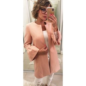 Zara Frilled Sleeve Jacket in Peachy Pink